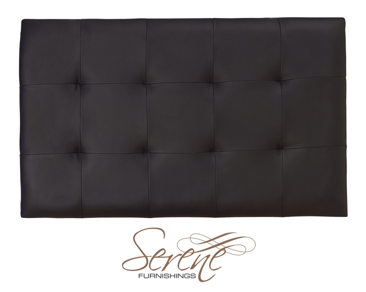 Romana 3' Single Black Faux Leather Headboard