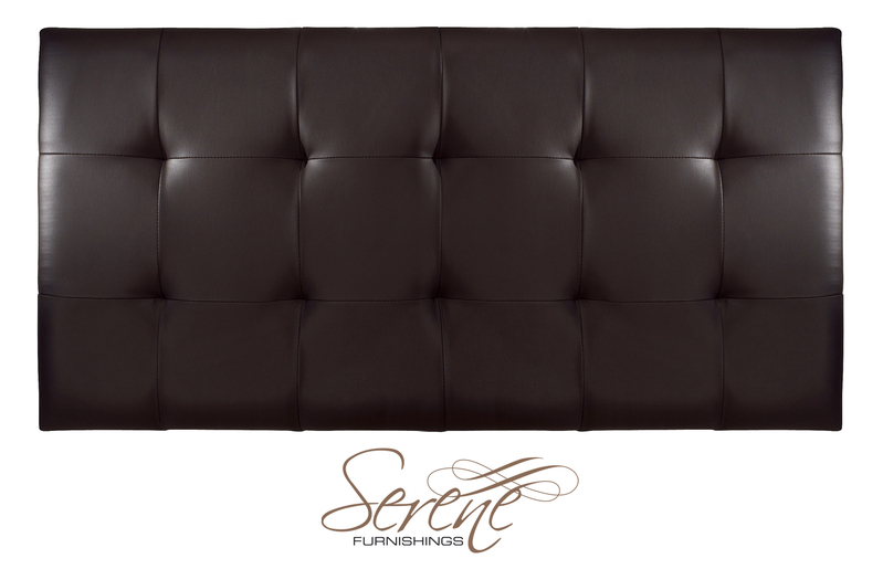 Romana 4' Small Double Black Faux Leather Headboard