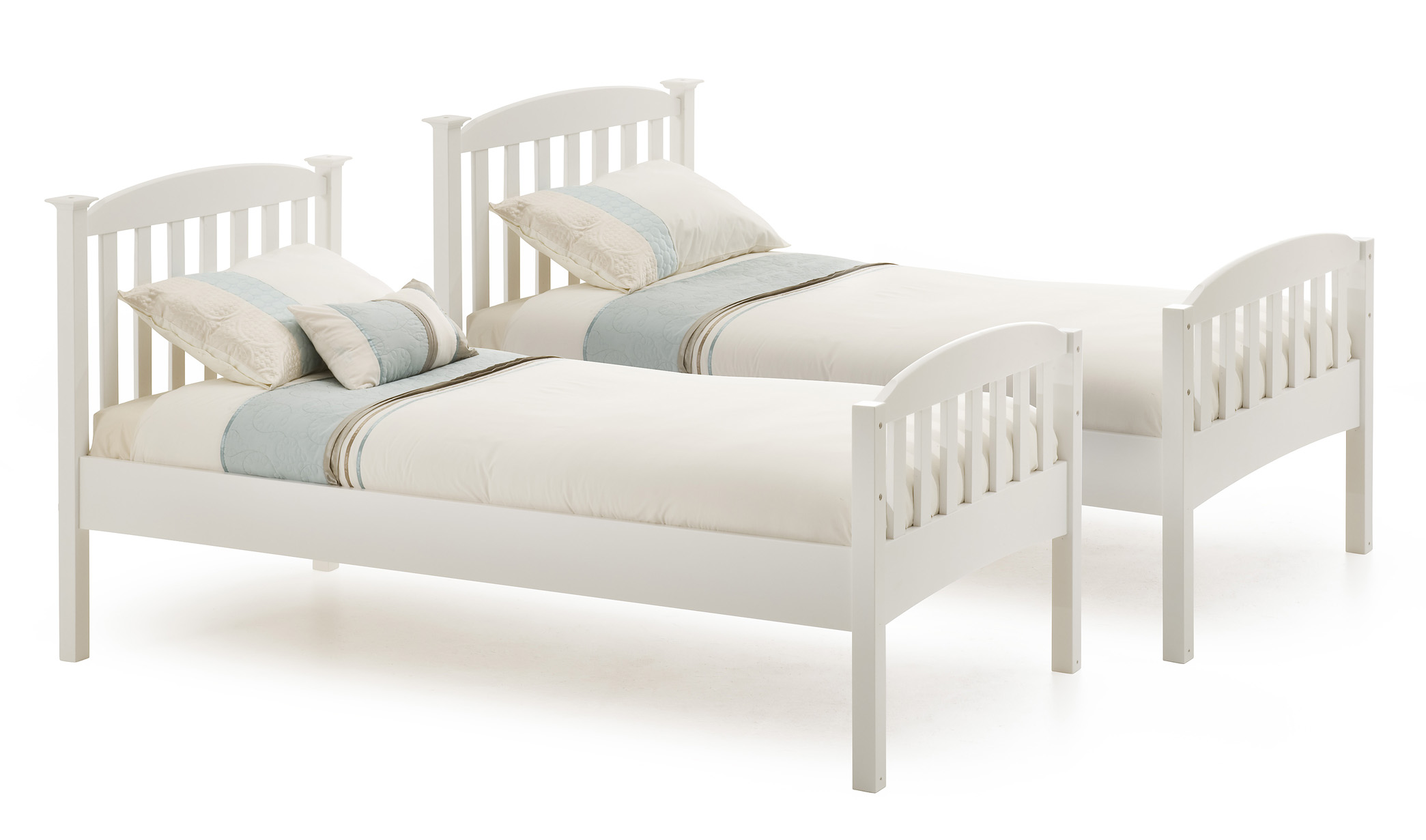 White bed frame 3ft 6ft wooden serene santo single small for White metal twin bed frame