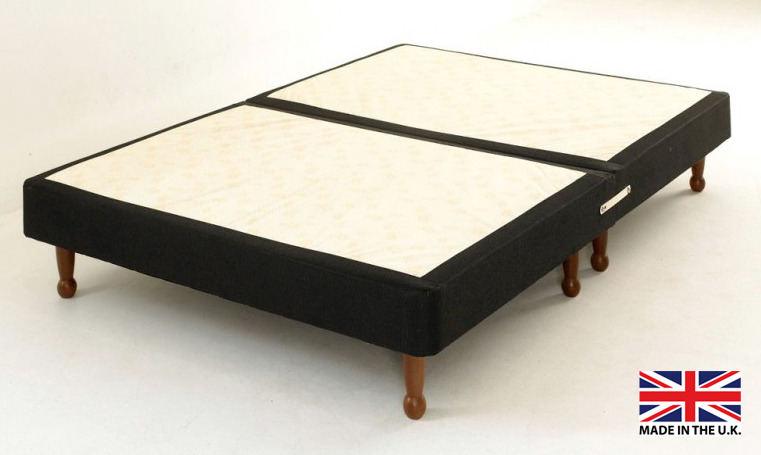 Double black fabric platform top divan bed base on legs for Divan bed base sale